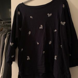 Loft embroidered floral pullover